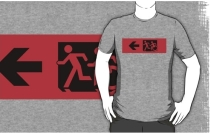 Accessible Means of Egress Icon Exit Sign Wheelchair Wheelie Running Man Symbol by Lee Wilson PWD Disability Emergency Evacuation Adult T-shirt 570