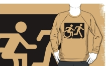 Accessible Means of Egress Icon Exit Sign Wheelchair Wheelie Running Man Symbol by Lee Wilson PWD Disability Emergency Evacuation Adult T-shirt 57