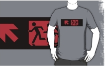 Accessible Means of Egress Icon Exit Sign Wheelchair Wheelie Running Man Symbol by Lee Wilson PWD Disability Emergency Evacuation Adult T-shirt 571