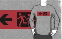 Accessible Means of Egress Icon Exit Sign Wheelchair Wheelie Running Man Symbol by Lee Wilson PWD Disability Emergency Evacuation Adult T-shirt 572