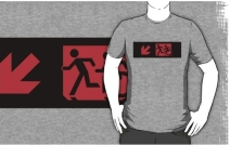 Accessible Means of Egress Icon Exit Sign Wheelchair Wheelie Running Man Symbol by Lee Wilson PWD Disability Emergency Evacuation Adult T-shirt 573