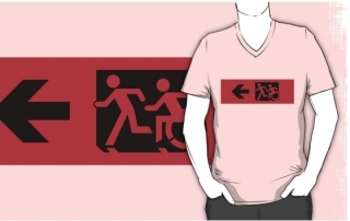Accessible Means of Egress Icon Exit Sign Wheelchair Wheelie Running Man Symbol by Lee Wilson PWD Disability Emergency Evacuation Adult T-shirt 574