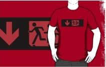 Accessible Means of Egress Icon Exit Sign Wheelchair Wheelie Running Man Symbol by Lee Wilson PWD Disability Emergency Evacuation Adult T-shirt 575
