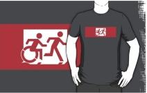 Accessible Means of Egress Icon Exit Sign Wheelchair Wheelie Running Man Symbol by Lee Wilson PWD Disability Emergency Evacuation Adult T-shirt 576
