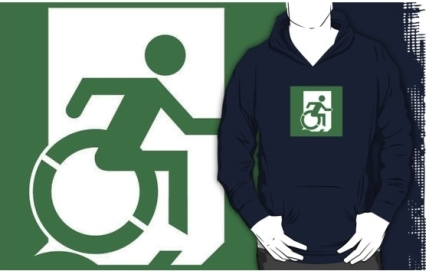 Accessible Means of Egress Icon Exit Sign Wheelchair Wheelie Running Man Symbol by Lee Wilson PWD Disability Emergency Evacuation Adult T-shirt 577