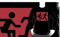 Accessible Means of Egress Icon Exit Sign Wheelchair Wheelie Running Man Symbol by Lee Wilson PWD Disability Emergency Evacuation Adult T-shirt 578