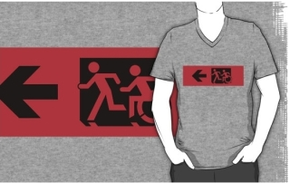 Accessible Means of Egress Icon Exit Sign Wheelchair Wheelie Running Man Symbol by Lee Wilson PWD Disability Emergency Evacuation Adult T-shirt 579