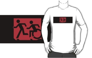 Accessible Means of Egress Icon Exit Sign Wheelchair Wheelie Running Man Symbol by Lee Wilson PWD Disability Emergency Evacuation Adult T-shirt 580