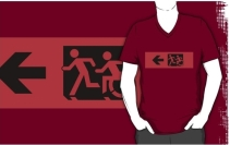Accessible Means of Egress Icon Exit Sign Wheelchair Wheelie Running Man Symbol by Lee Wilson PWD Disability Emergency Evacuation Adult T-shirt 581