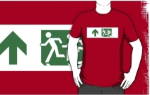 Accessible Means of Egress Icon Exit Sign Wheelchair Wheelie Running Man Symbol by Lee Wilson PWD Disability Emergency Evacuation Adult T-shirt 582
