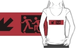 Accessible Means of Egress Icon Exit Sign Wheelchair Wheelie Running Man Symbol by Lee Wilson PWD Disability Emergency Evacuation Adult T-shirt 583