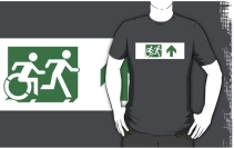 Accessible Means of Egress Icon Exit Sign Wheelchair Wheelie Running Man Symbol by Lee Wilson PWD Disability Emergency Evacuation Adult T-shirt 584