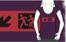 Accessible Means of Egress Icon Exit Sign Wheelchair Wheelie Running Man Symbol by Lee Wilson PWD Disability Emergency Evacuation Adult T-shirt 585