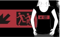Accessible Means of Egress Icon Exit Sign Wheelchair Wheelie Running Man Symbol by Lee Wilson PWD Disability Emergency Evacuation Adult T-shirt 586