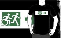 Accessible Means of Egress Icon Exit Sign Wheelchair Wheelie Running Man Symbol by Lee Wilson PWD Disability Emergency Evacuation Adult T-shirt 587