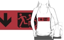 Accessible Means of Egress Icon Exit Sign Wheelchair Wheelie Running Man Symbol by Lee Wilson PWD Disability Emergency Evacuation Adult T-shirt 588