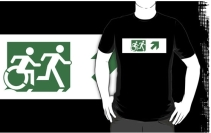 Accessible Means of Egress Icon Exit Sign Wheelchair Wheelie Running Man Symbol by Lee Wilson PWD Disability Emergency Evacuation Adult T-shirt 589