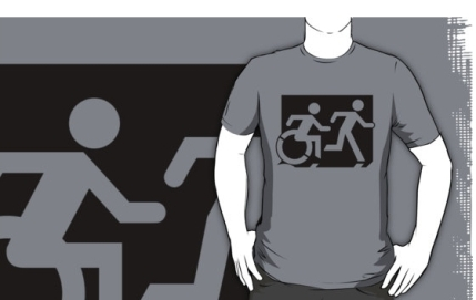 Accessible Means of Egress Icon Exit Sign Wheelchair Wheelie Running Man Symbol by Lee Wilson PWD Disability Emergency Evacuation Adult T-shirt 59