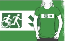 Accessible Means of Egress Icon Exit Sign Wheelchair Wheelie Running Man Symbol by Lee Wilson PWD Disability Emergency Evacuation Adult T-shirt 591