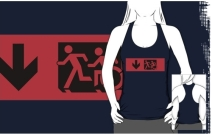 Accessible Means of Egress Icon Exit Sign Wheelchair Wheelie Running Man Symbol by Lee Wilson PWD Disability Emergency Evacuation Adult T-shirt 592
