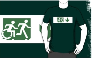 Accessible Means of Egress Icon Exit Sign Wheelchair Wheelie Running Man Symbol by Lee Wilson PWD Disability Emergency Evacuation Adult T-shirt 593
