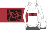 Accessible Means of Egress Icon Exit Sign Wheelchair Wheelie Running Man Symbol by Lee Wilson PWD Disability Emergency Evacuation Adult T-shirt 594