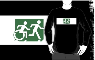 Accessible Means of Egress Icon Exit Sign Wheelchair Wheelie Running Man Symbol by Lee Wilson PWD Disability Emergency Evacuation Adult T-shirt 595