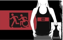 Accessible Means of Egress Icon Exit Sign Wheelchair Wheelie Running Man Symbol by Lee Wilson PWD Disability Emergency Evacuation Adult T-shirt 596