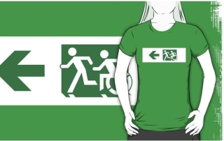 Accessible Means of Egress Icon Exit Sign Wheelchair Wheelie Running Man Symbol by Lee Wilson PWD Disability Emergency Evacuation Adult T-shirt 597