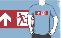Accessible Means of Egress Icon Exit Sign Wheelchair Wheelie Running Man Symbol by Lee Wilson PWD Disability Emergency Evacuation Adult T-shirt 598