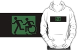 Accessible Means of Egress Icon Exit Sign Wheelchair Wheelie Running Man Symbol by Lee Wilson PWD Disability Emergency Evacuation Adult T-shirt 599