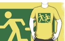 Accessible Means of Egress Icon Exit Sign Wheelchair Wheelie Running Man Symbol by Lee Wilson PWD Disability Emergency Evacuation Adult T-shirt 600
