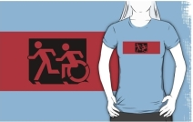 Accessible Means of Egress Icon Exit Sign Wheelchair Wheelie Running Man Symbol by Lee Wilson PWD Disability Emergency Evacuation Adult T-shirt 601