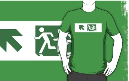 Accessible Means of Egress Icon Exit Sign Wheelchair Wheelie Running Man Symbol by Lee Wilson PWD Disability Emergency Evacuation Adult T-shirt 602