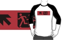 Accessible Means of Egress Icon Exit Sign Wheelchair Wheelie Running Man Symbol by Lee Wilson PWD Disability Emergency Evacuation Adult T-shirt 603