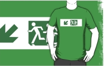 Accessible Means of Egress Icon Exit Sign Wheelchair Wheelie Running Man Symbol by Lee Wilson PWD Disability Emergency Evacuation Adult T-shirt 604