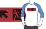 Accessible Means of Egress Icon Exit Sign Wheelchair Wheelie Running Man Symbol by Lee Wilson PWD Disability Emergency Evacuation Adult T-shirt 605