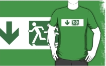 Accessible Means of Egress Icon Exit Sign Wheelchair Wheelie Running Man Symbol by Lee Wilson PWD Disability Emergency Evacuation Adult T-shirt 606