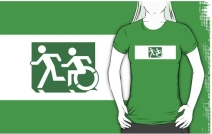 Accessible Means of Egress Icon Exit Sign Wheelchair Wheelie Running Man Symbol by Lee Wilson PWD Disability Emergency Evacuation Adult T-shirt 608