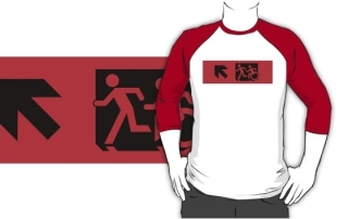 Accessible Means of Egress Icon Exit Sign Wheelchair Wheelie Running Man Symbol by Lee Wilson PWD Disability Emergency Evacuation Adult T-shirt 609