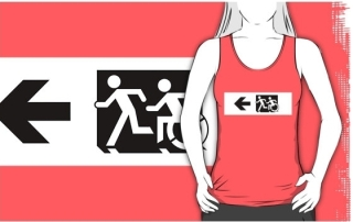 Accessible Means of Egress Icon Exit Sign Wheelchair Wheelie Running Man Symbol by Lee Wilson PWD Disability Emergency Evacuation Adult T-shirt 6
