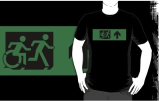 Accessible Means of Egress Icon Exit Sign Wheelchair Wheelie Running Man Symbol by Lee Wilson PWD Disability Emergency Evacuation Adult T-shirt 610
