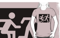 Accessible Means of Egress Icon Exit Sign Wheelchair Wheelie Running Man Symbol by Lee Wilson PWD Disability Emergency Evacuation Adult T-shirt 61