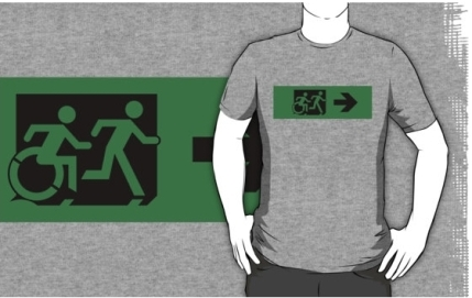 Accessible Means of Egress Icon Exit Sign Wheelchair Wheelie Running Man Symbol by Lee Wilson PWD Disability Emergency Evacuation Adult T-shirt 612