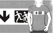 Accessible Means of Egress Icon Exit Sign Wheelchair Wheelie Running Man Symbol by Lee Wilson PWD Disability Emergency Evacuation Adult T-shirt 613