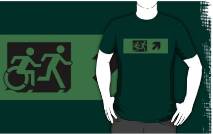 Accessible Means of Egress Icon Exit Sign Wheelchair Wheelie Running Man Symbol by Lee Wilson PWD Disability Emergency Evacuation Adult T-shirt 614