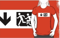 Accessible Means of Egress Icon Exit Sign Wheelchair Wheelie Running Man Symbol by Lee Wilson PWD Disability Emergency Evacuation Adult T-shirt 617