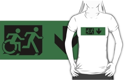 Accessible Means of Egress Icon Exit Sign Wheelchair Wheelie Running Man Symbol by Lee Wilson PWD Disability Emergency Evacuation Adult T-shirt 618
