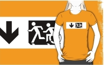 Accessible Means of Egress Icon Exit Sign Wheelchair Wheelie Running Man Symbol by Lee Wilson PWD Disability Emergency Evacuation Adult T-shirt 619