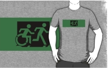 Accessible Means of Egress Icon Exit Sign Wheelchair Wheelie Running Man Symbol by Lee Wilson PWD Disability Emergency Evacuation Adult T-shirt 620